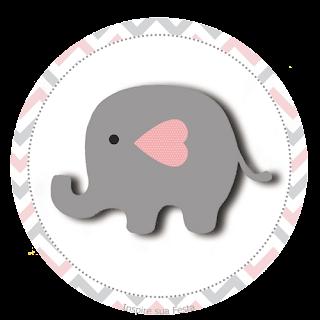 Toppers o Etiquetas de Elefante Bebé en Rosado y Gris para imprimir gratis.