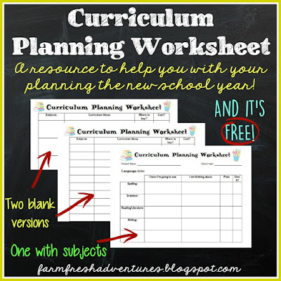 farm fresh adventures homeschool curriculum planning and free curriculum planning worksheet. Black Bedroom Furniture Sets. Home Design Ideas