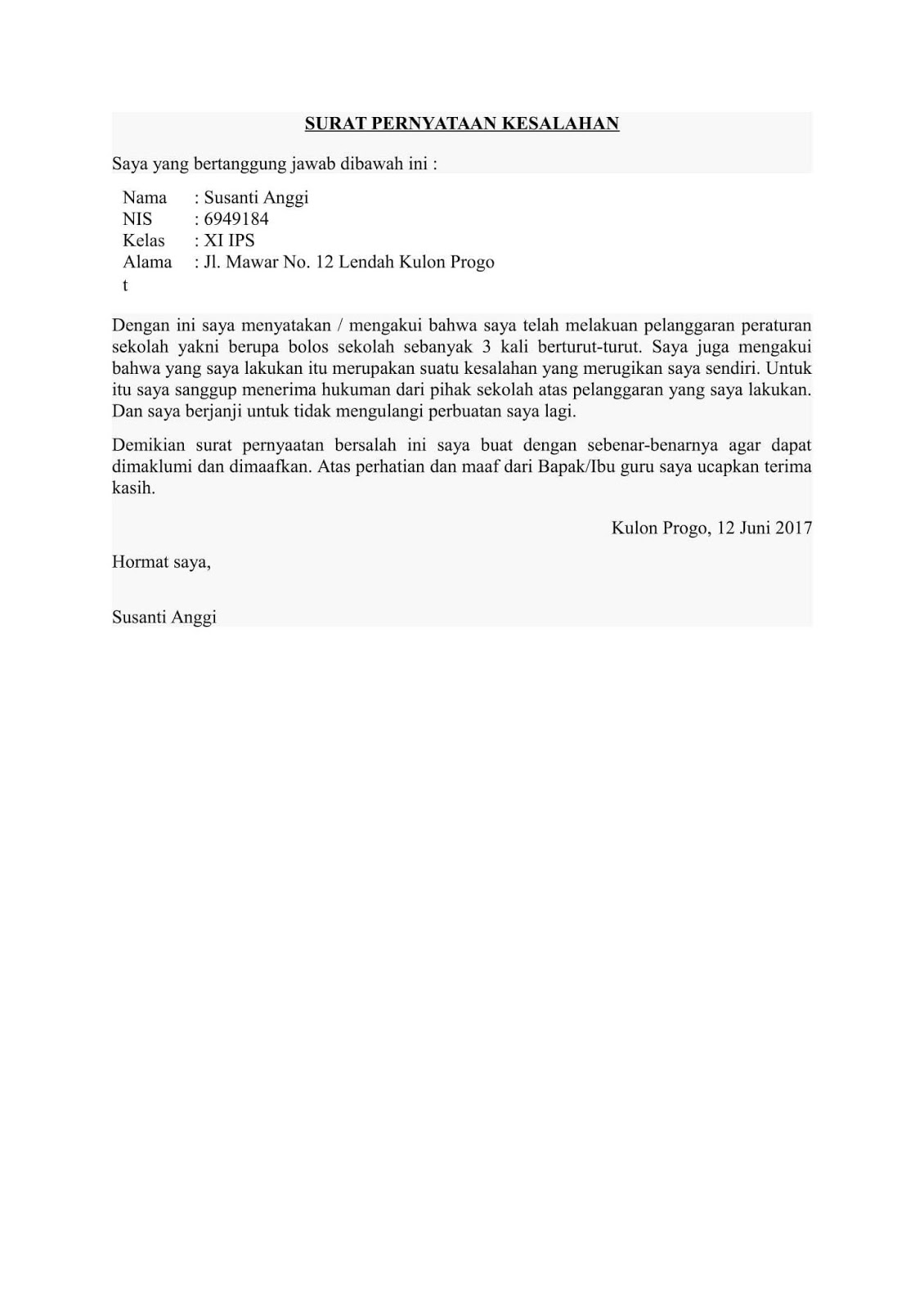 Contoh Surat Pernyataan Kesalahan