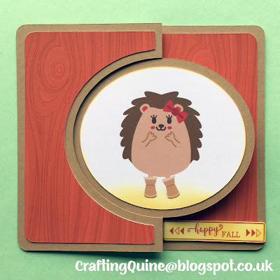 Make a Fall Hedgehog Swing Card. designed by Janet Packer (Crafting Quine) using the FREE swing card design from Simply Crafty SVGs and the Fall Hedgehog Clipart from Sanqunetti Design.