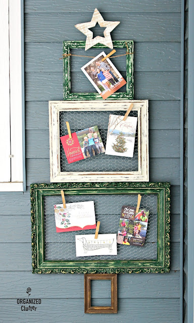 Thrift Shop Frames Repurposed As Christmas Tree Holder #Christmasjunkfavs #chickenwire #repurpose #frameideas #Christmas #Christmascardholder