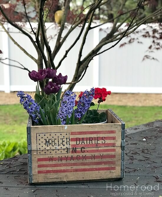 Rustic crate with American flag