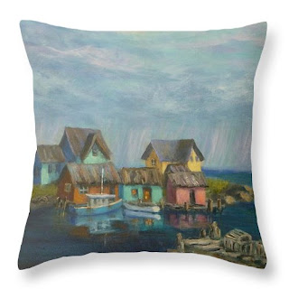 Coastal Throw Pillow with a Village by the Sea with boats