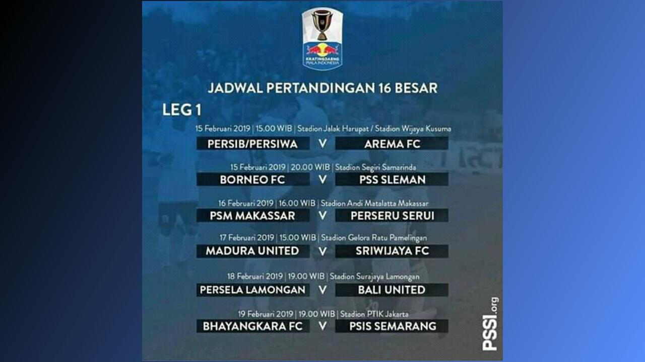 Jadwal 16 Besar Kartingdaeng Piala Indonesia