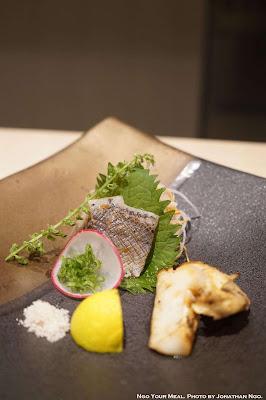 Sanma Mackerel Pike with Yuzu Soy Sauce, Grilled Matsutake with Seaweed Salt and Sudachi at Shuraku in New York City