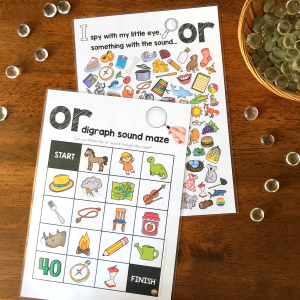 Printable Digraph Activities for /or/ sound - sound mazes in colour and black and white plus I Spy game | you clever monkey