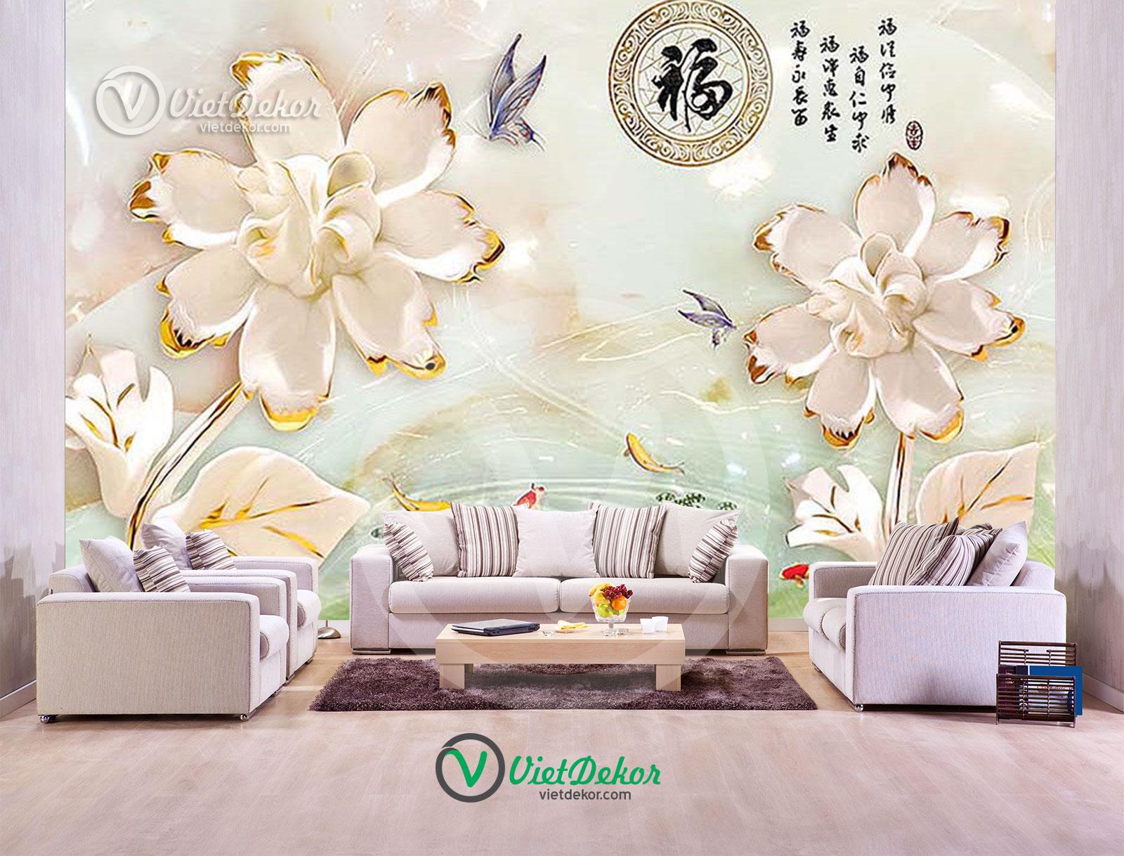 Tranh dán tường 3d hoa bướm