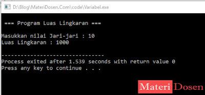 Contoh Identifier sebagai Variabel dalam C++