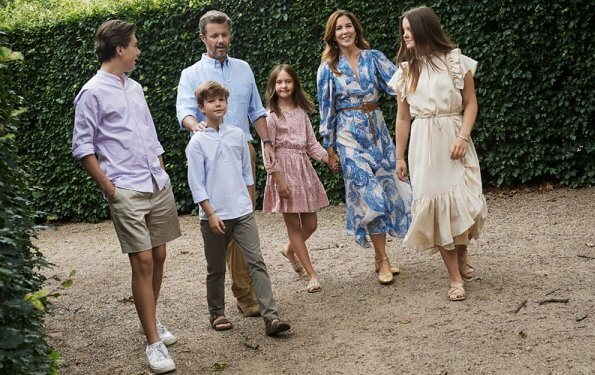 Crown Princess Mary wore a new mosaic patterned silk dress from HM. Princess Isabella wore a new striped short sleeve midi dress from Munthe