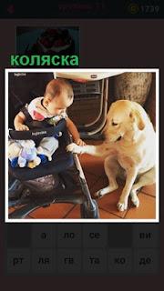 651 слов стоит коляска с ребенком и собакой рядом 11 уровень