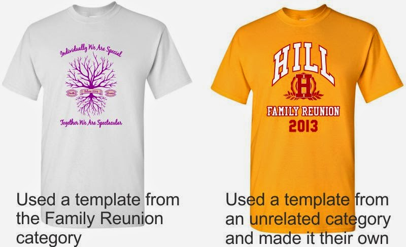 Family Reunion Printed T-shirts created from our T-shgirt Designer