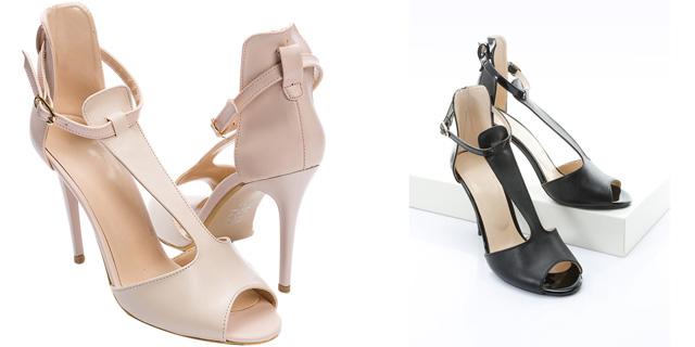 Sandale ieftine elegante cu toc inalt de ocazii nude, negre online