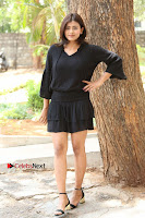 Actress Hebah Patel Stills in Black Mini Dress at Angel Movie Teaser Launch  0079.JPG