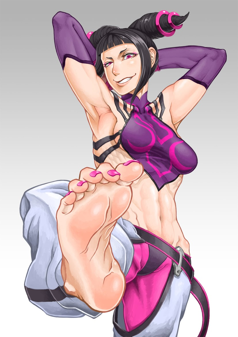 han juri has her arm sexily behind her air while she stretches her feet forwards and revealing her intense muscles