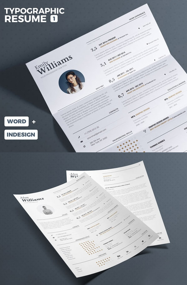Download Template CV Word 100% Gratis - Free Typographic Resume Tempalate