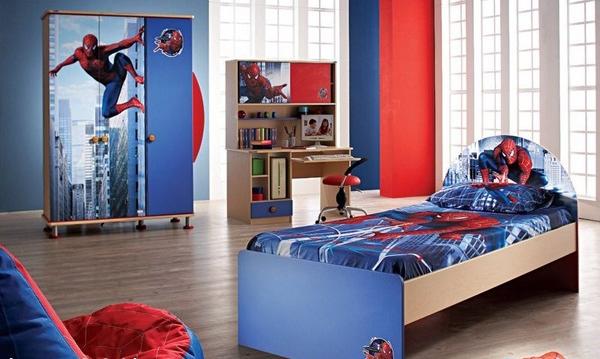 desain kamar tidur spiderman untuk anak