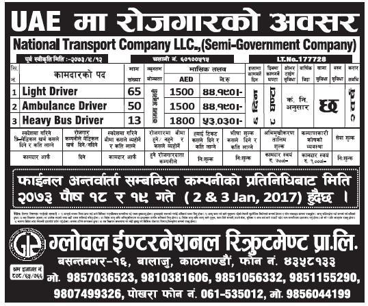 Jobs in UAE for Nepali, Salary Rs 53,030