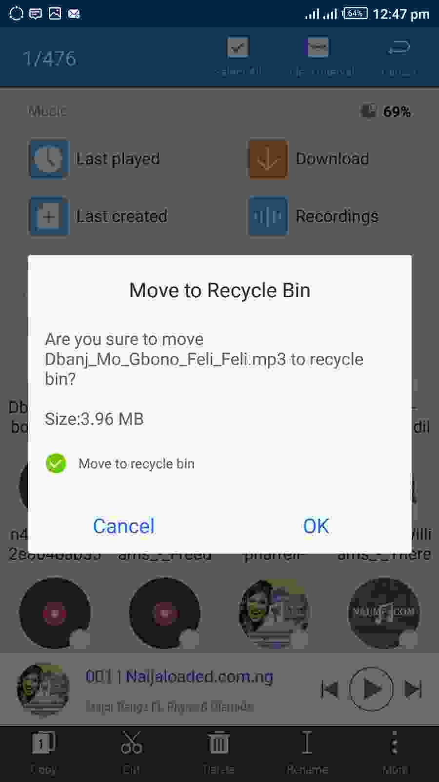 Select, Delete and Move Files To ES File Explorer Recycle Bin