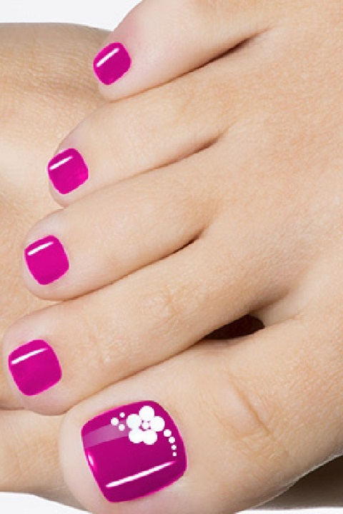 Pink Polish With White Flower Summer Toe Nail Design