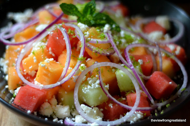 healthy and colorful melon salad