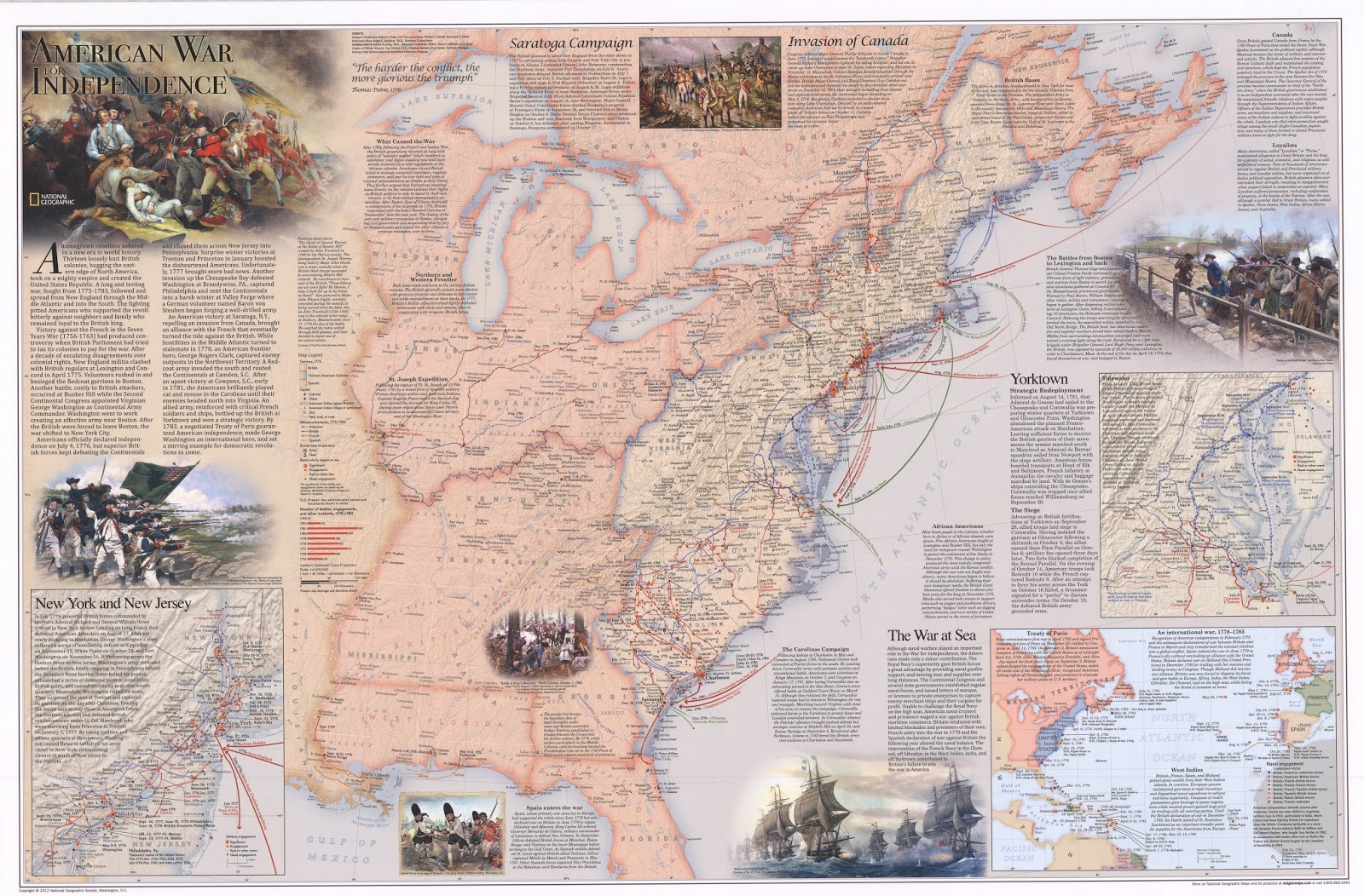 this map of the revolutionary war was published by national geographic in 2012 and is posted in the front windows of the grmc as the july map of the month