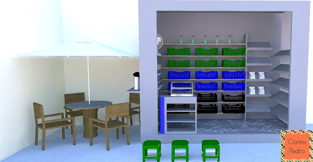 projeto em 3D da banca do CEU - Santos