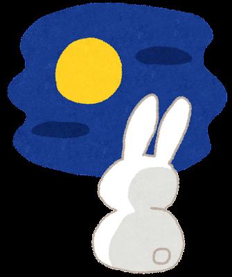 十五夜のイラスト「ウサギのお月見」Uフリー画像いらすとや)