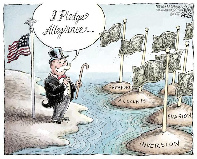 Plutocrat standing on U. S. shore facing islands labeled