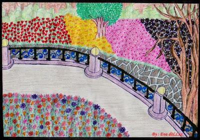 Taman bunga, flowery park. Pen & Pencil Draws - Gambar Penuh Imajinasi