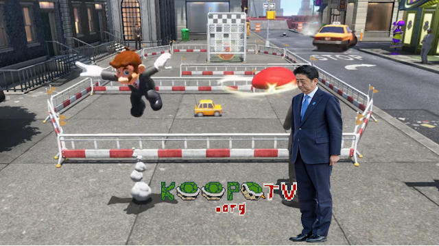 Super Mario Odyssey Cappy capturing human Shinzō Abe bowing submission Japan Prime Minister KoopaTV Rio 2016 Closing Ceremony hat New Donk City suit tie