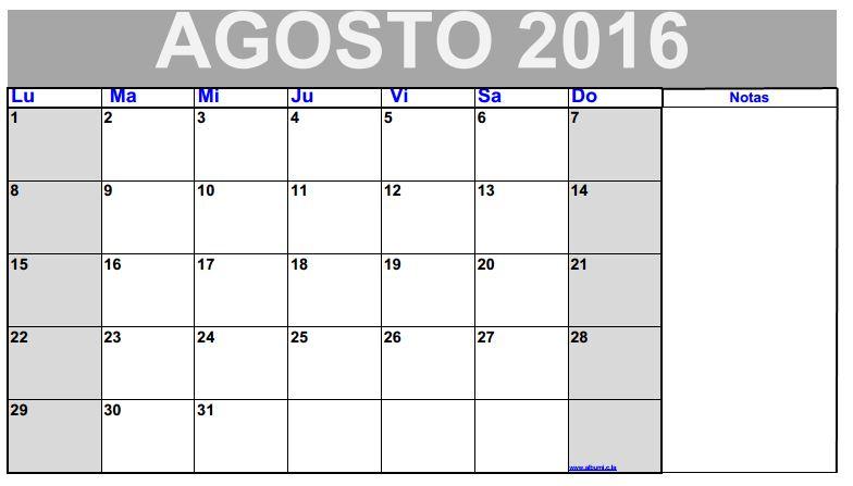 Calendario Agosto 2013 Para Imprimir All blank calendar 2013-2014 2016