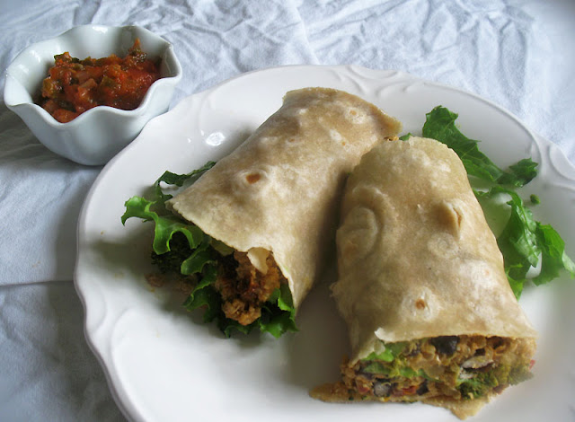 vegan quinoa and broccoli burrito