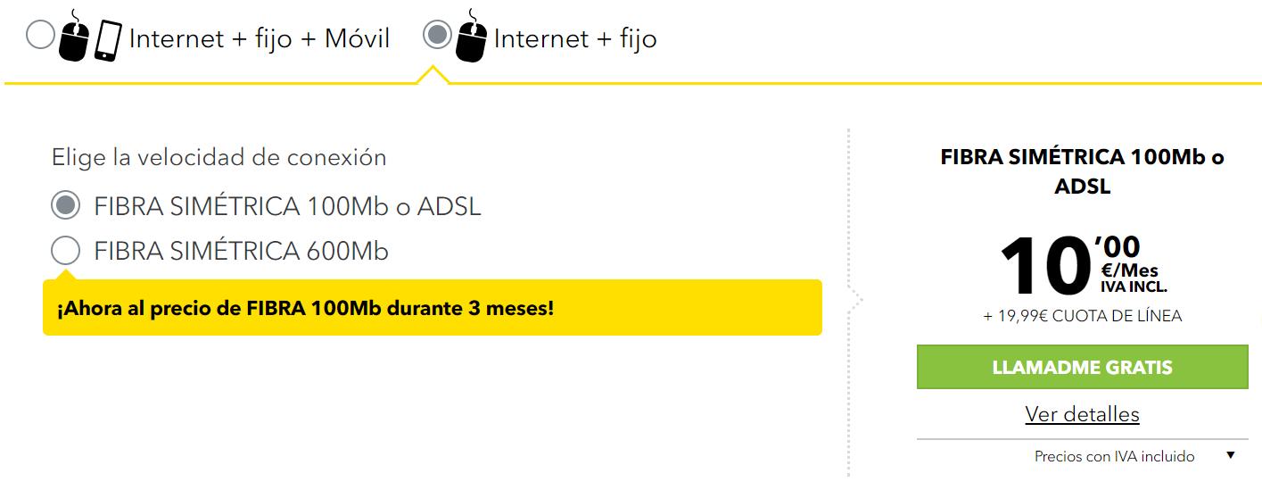MásMóvil fibra 100 Mb por 30 euros al mes