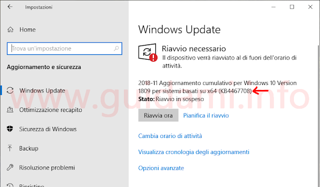 Schermata Windows Update in Windows 10