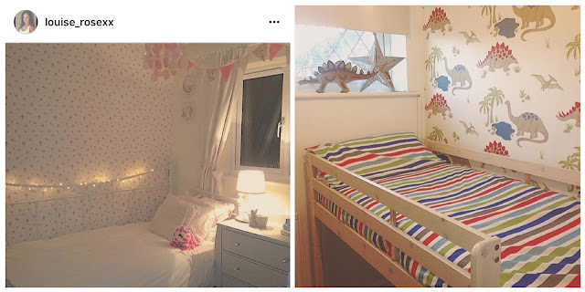 Pink girls room and dinosaur themed boys room