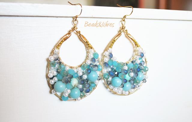 orecchini blu beads and wires
