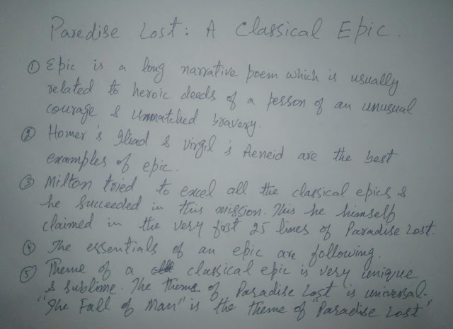 Paradise Lost as a classical epic,what is epic,epic details in points,ma english part.1 classical poetry,