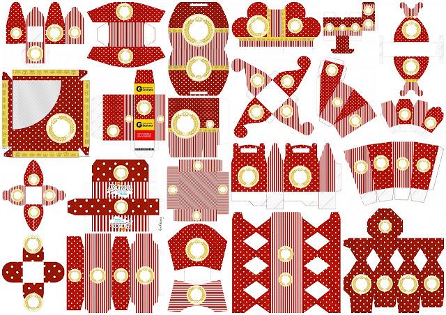 Corona Dorada en Rojo: Cajas para Bodas para Imprimir Gratis.