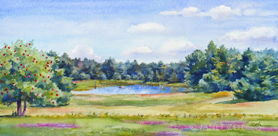 Watercolor Painting of a Family Farm Pond, Apple Tree and Fields