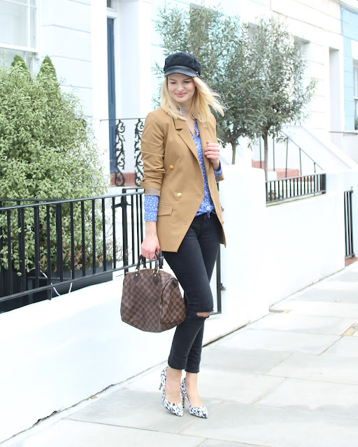 baker boy hat, gestuz blazer, crew boyfriend shirt, true crew, black skinny jeans, leopard print heels, louis vuitton speedy bag, notting hill, london blogger, street style, shirt and blazer, casual chic look