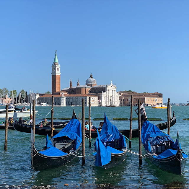 View of St Mark's Square, Venice, from the water with gondolas