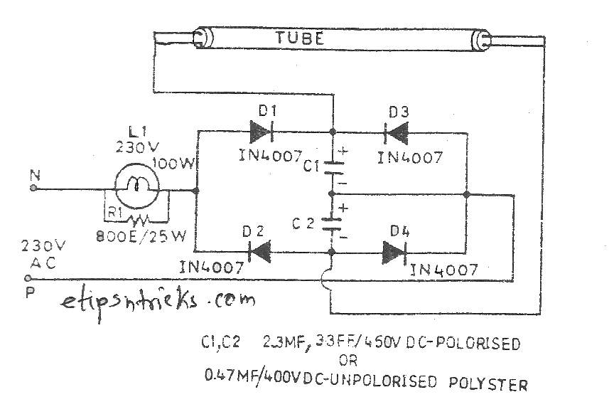 Tube light without starter and choke coil electronics tips and tricks the circuit given here performs just this function the circuit performs well within the supply range of 70v to 270v the heart of the circuit is the bridge ccuart Image collections
