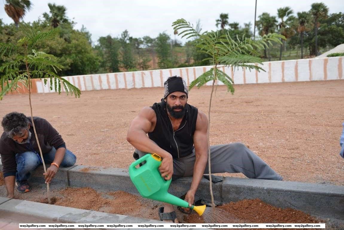 Rana Daggubati posted on Twitter Good Morning This is how my day began Tree plantation in Nanakramguda Make urs as green HarithaHaram