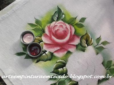 rosa passo a passo pintura em tecido