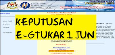 Keputusan Eg Tukar Pertukaran Guru 1 Jun 2016
