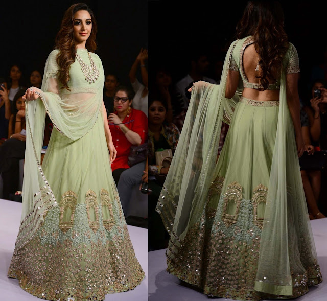Kiara Advani Walks the Ramp in Green Embroidered Lehenga for Ridhi Mehra at lakme Fashion