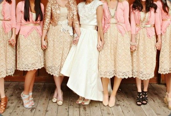 2e1ef40d5cd It s all about accessorizing - dress the maid of honor in sequined cardigan  and the bridesmaids in lace dresses with gold belted cardigans