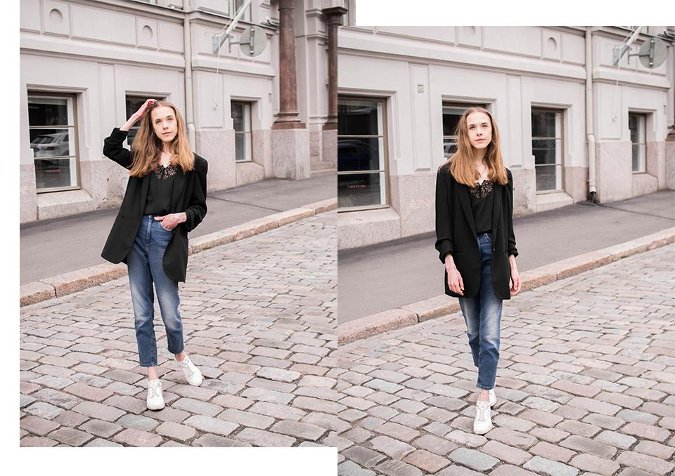Outfit with mom jeans, black lace camisole, black oversized blazer and white sneakers - Mutsifarkut, musta pitsitoppi, ylisuuri bleiseri ja valkoiset lenkkarit