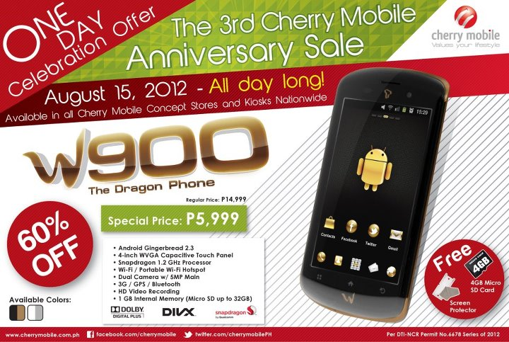 Cherry Mobile 3rd Anniversary Sale - Get Cherry Mobile W900 for P5999 only