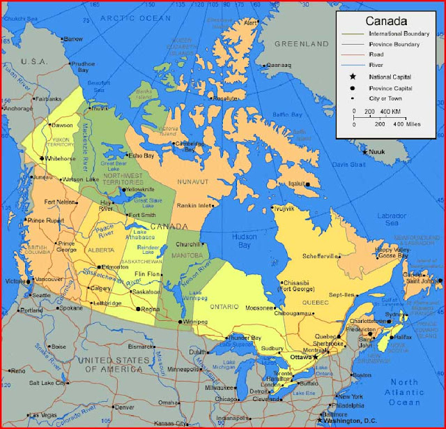 Canada Map of Provinces and Rivers